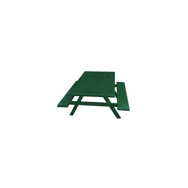 Ofab Green Tatter Cast Aluminum Rectangle Picnic Table - Cast aluminum picnic table