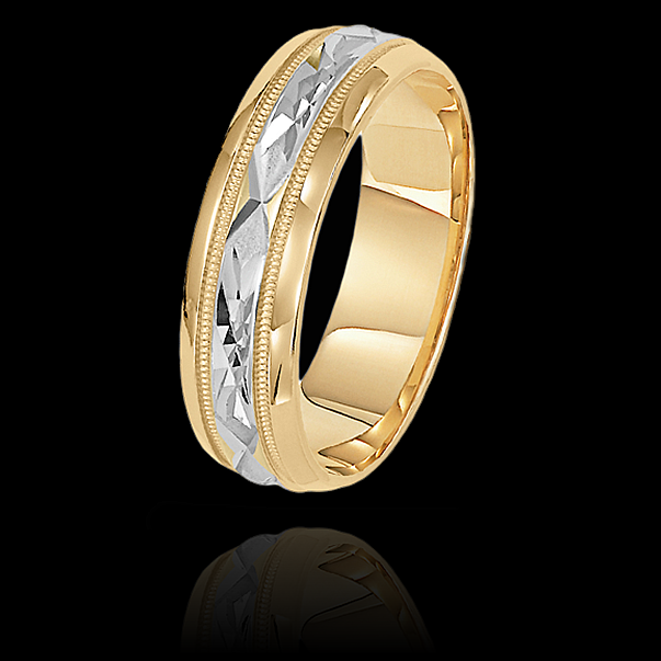 6mm Unique Mens Wedding Bands in 10kt Twotone Gold Dublin10