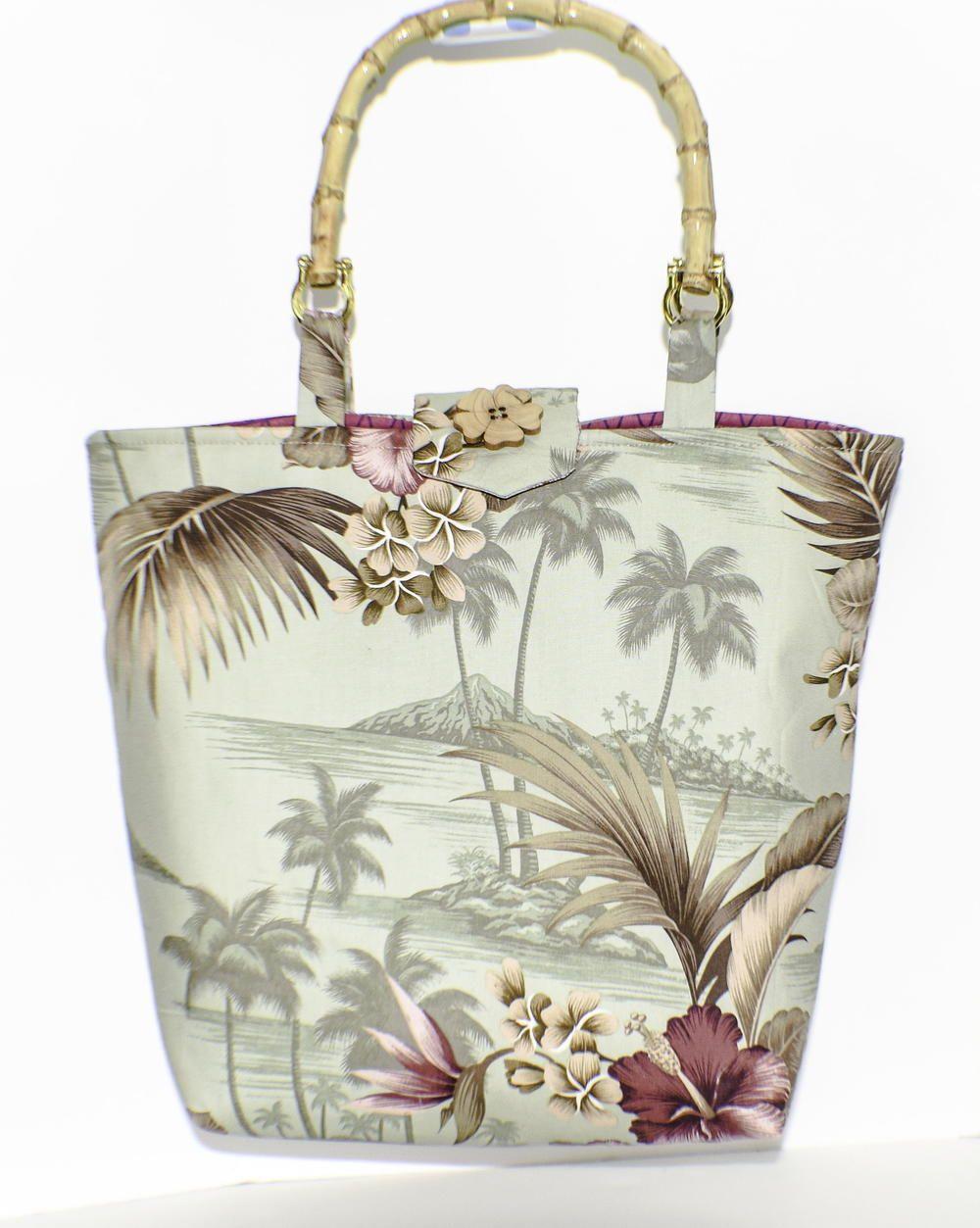 Bamboo handled handbag fabric tote bags bamboo handles
