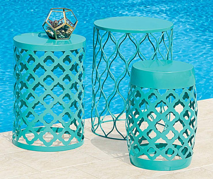 I Found A Aqua Outdoor Drum Table Collection At Big Lots For Less