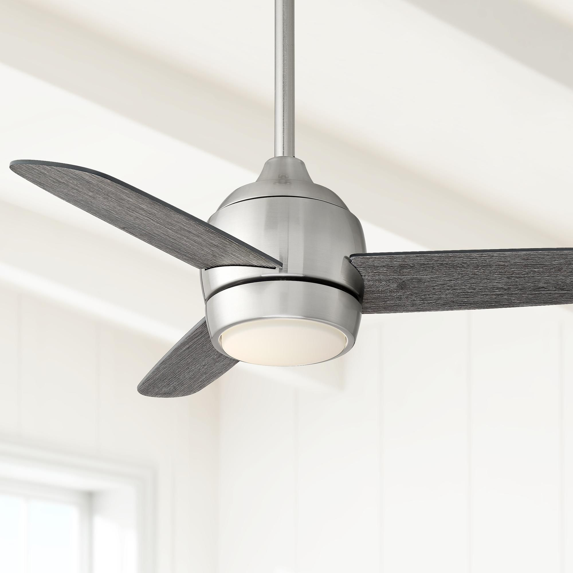 36 Inch Chalet Brushed Nickel And Gray Wood Led Ceiling Fan Led