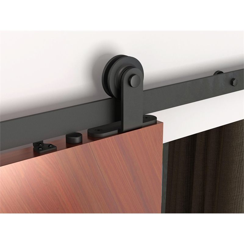 Rolltrak Matt Black Barn Door Top Fix Track Set Double