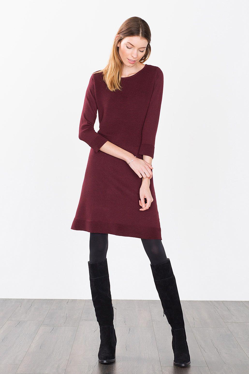 Esprit / a-line knit dress | Kleider damen, Kleider ...