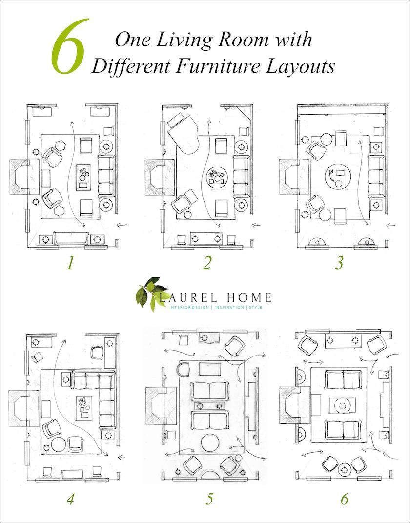 One living room six different layouts furniture also genius solutions for layout problems decorating rh pinterest