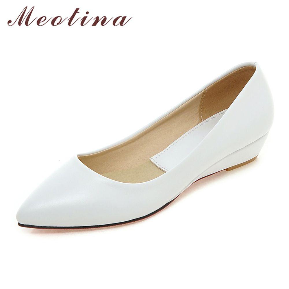 df7b5c2219b Meotina Spring Women Shoes 2018 Comfort Casual Shoes Pumps Low Heels Black  Ladies Wedges Shoes White Green Plus Size 9 10 41 43