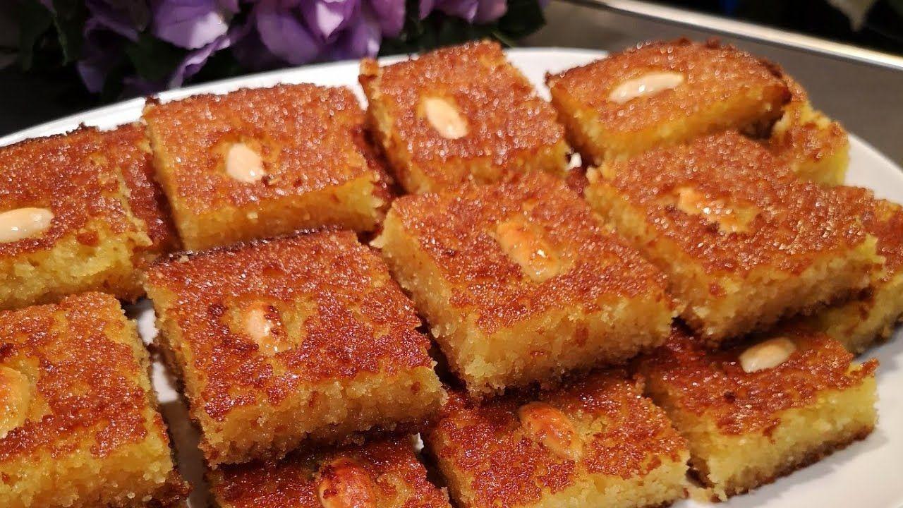 هريسة أو نمورة بمكونات بسيطة وطريقة تحضير كتير سهلة والطعم ررروعة Arabic Food Food Arabic Sweets