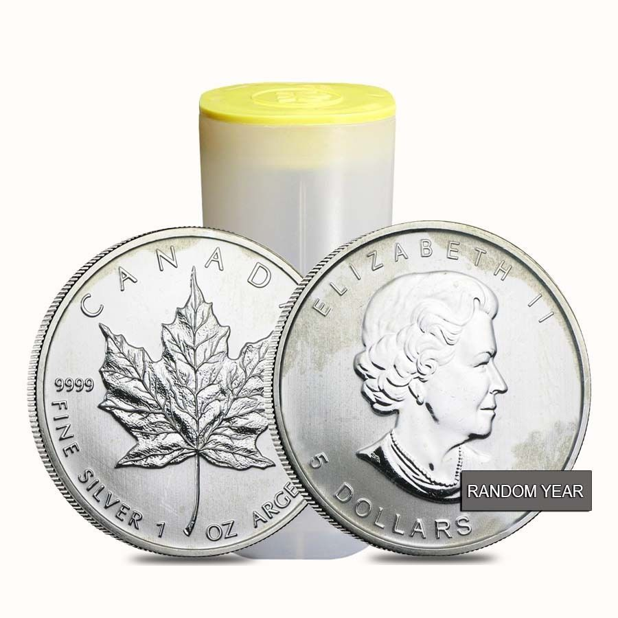 Roll Of 25 1 Oz Silver Canadian Maple Leaf Milky Cull Damaged Circulated Canadian Maple Leaf Silver Maple Leaf