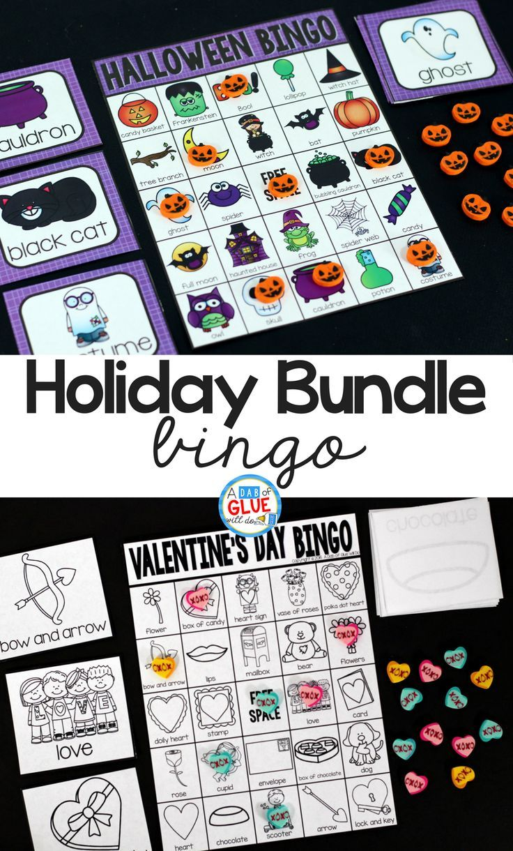 Play Bingowith your elementary age students through the holidays with these fun holiday bingo bundle of games! Add these to your lesson plans or class party with 30 unique Halloween, Thanksgiving, Christmas, Valentine's Day, St. Patrick's Day, Easter, and Earth Day boards!  via @dabofgluewi