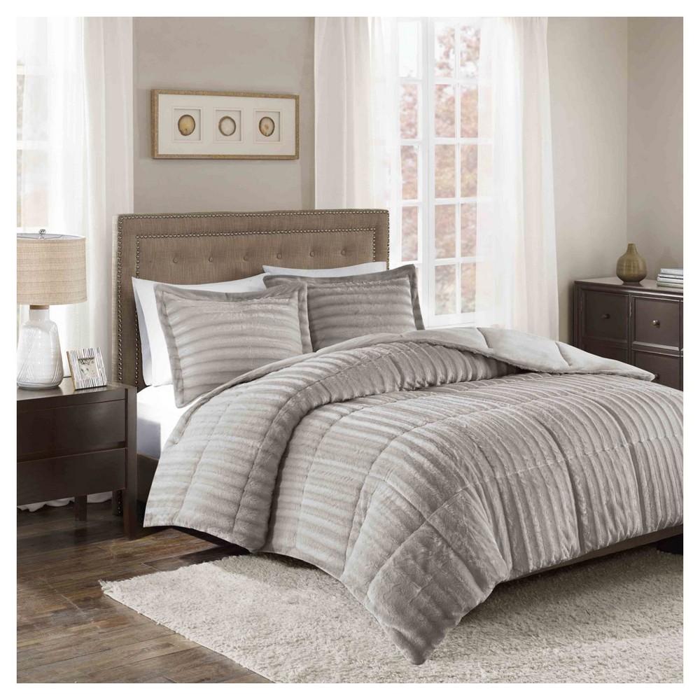 Gray York Brushed Faux Fur Comforter Mini Set (Full/Queen