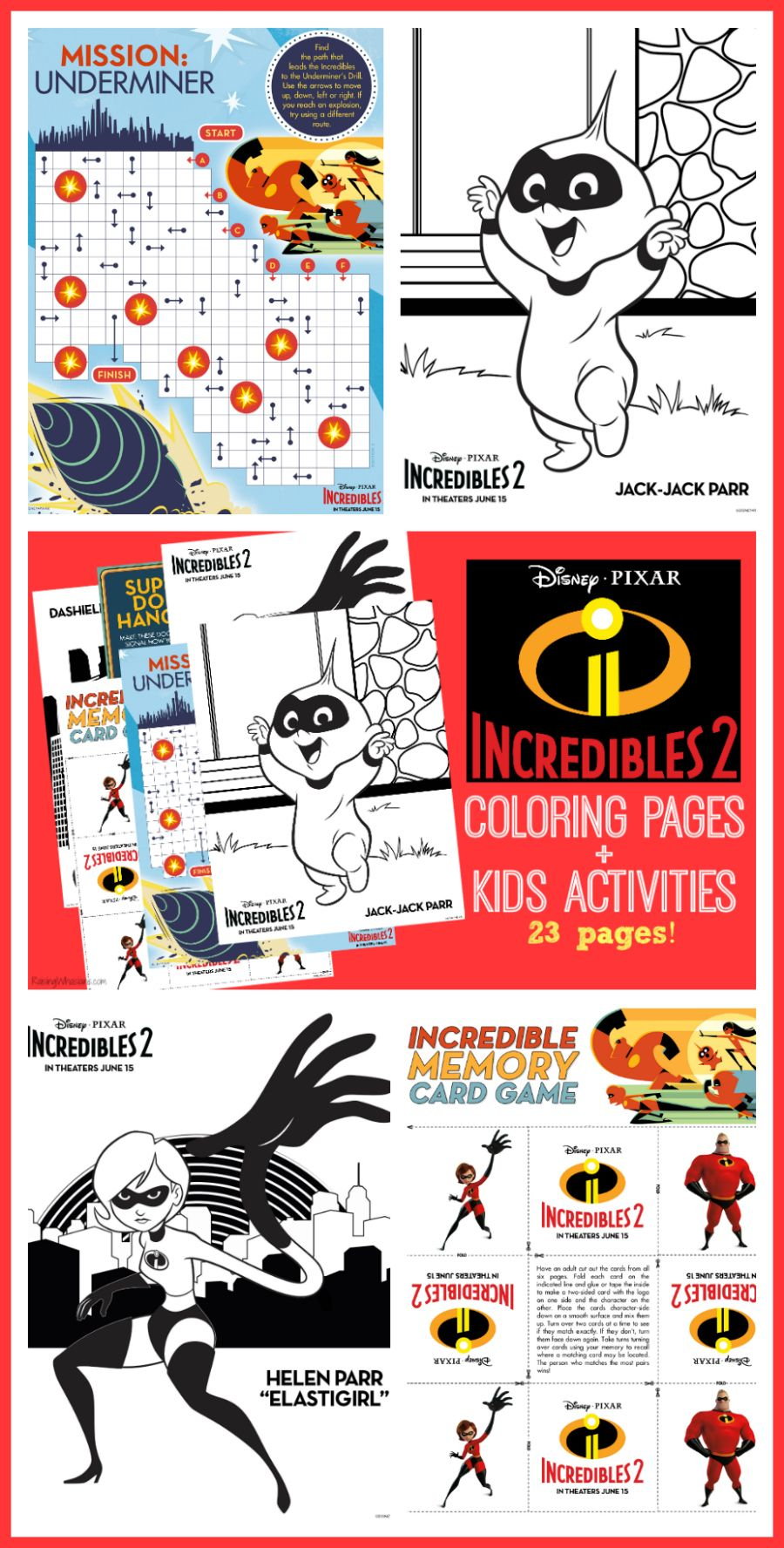 FREE Incredibles 2 Coloring Sheets + Kids Activities #Incredibles2 ...