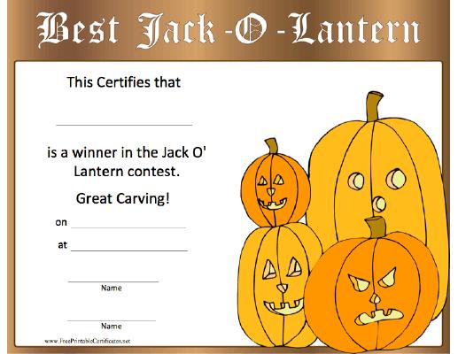 Halloween Best Jack O Lantern Printable Certificate Halloween Jack O Lanterns Pumpkin Carving Contest Pumpkin Contest