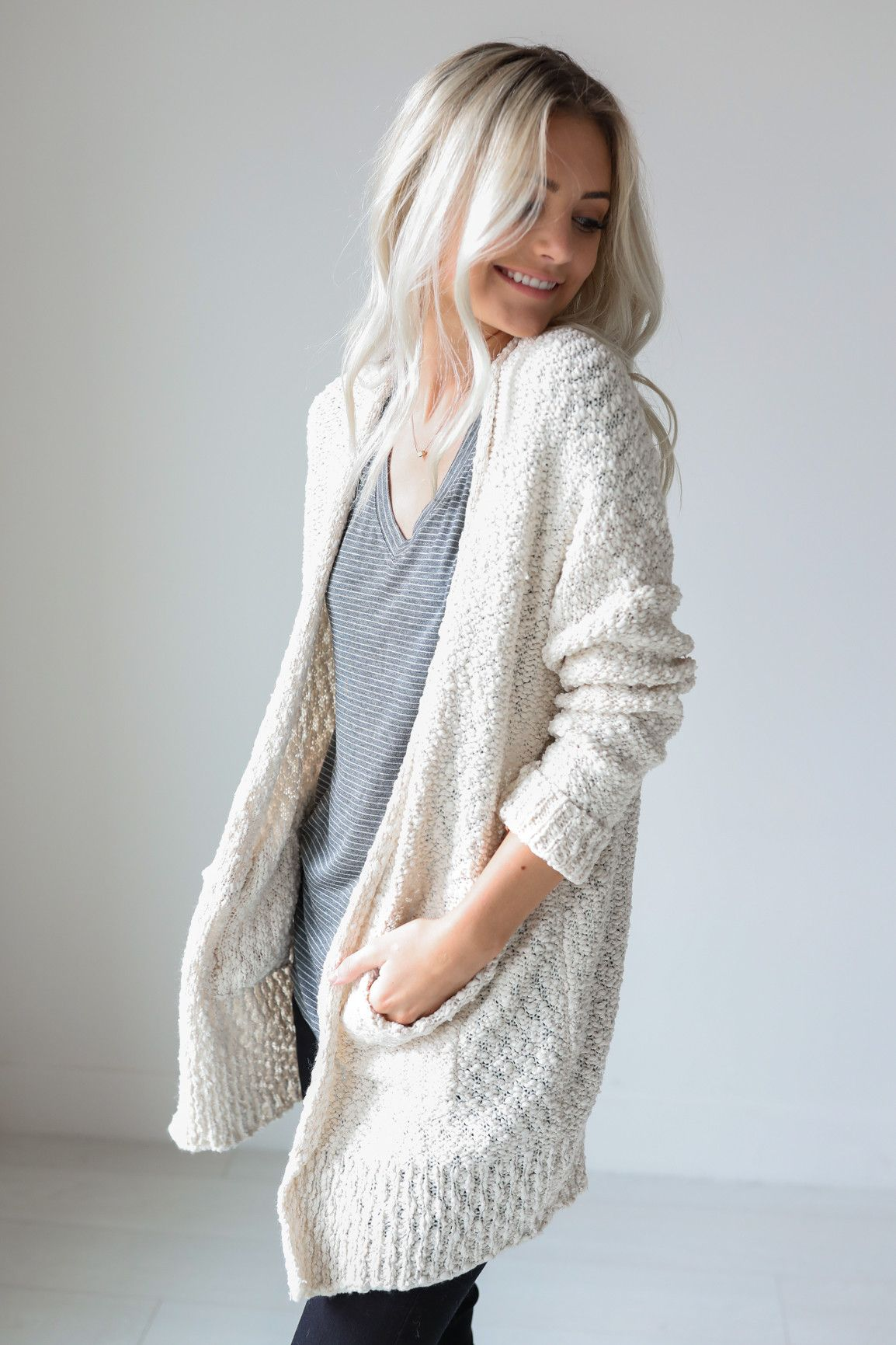 Cream thick knitted cardigan with pockets • Available in S/M and M ...