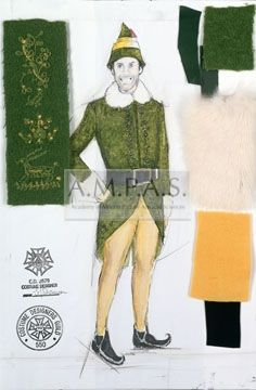 Elf Costume Design Drawing S Shannon Laura Jean Ferrell Will Buddy The Elf Costume Elf Costume Elf The Musical
