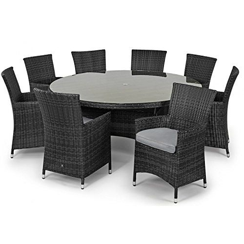 San Diego Baby Rattan Garden Furniture Grey 8 Seater Round Table Set