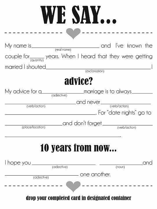 Wedding Shower Mad Lib Template Awesome 24 Entertaining