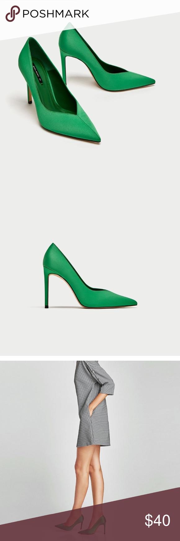 Hp 2 18 Zara Green V Vamp Court Shoes Stiletto Heels Heels Green High Heels