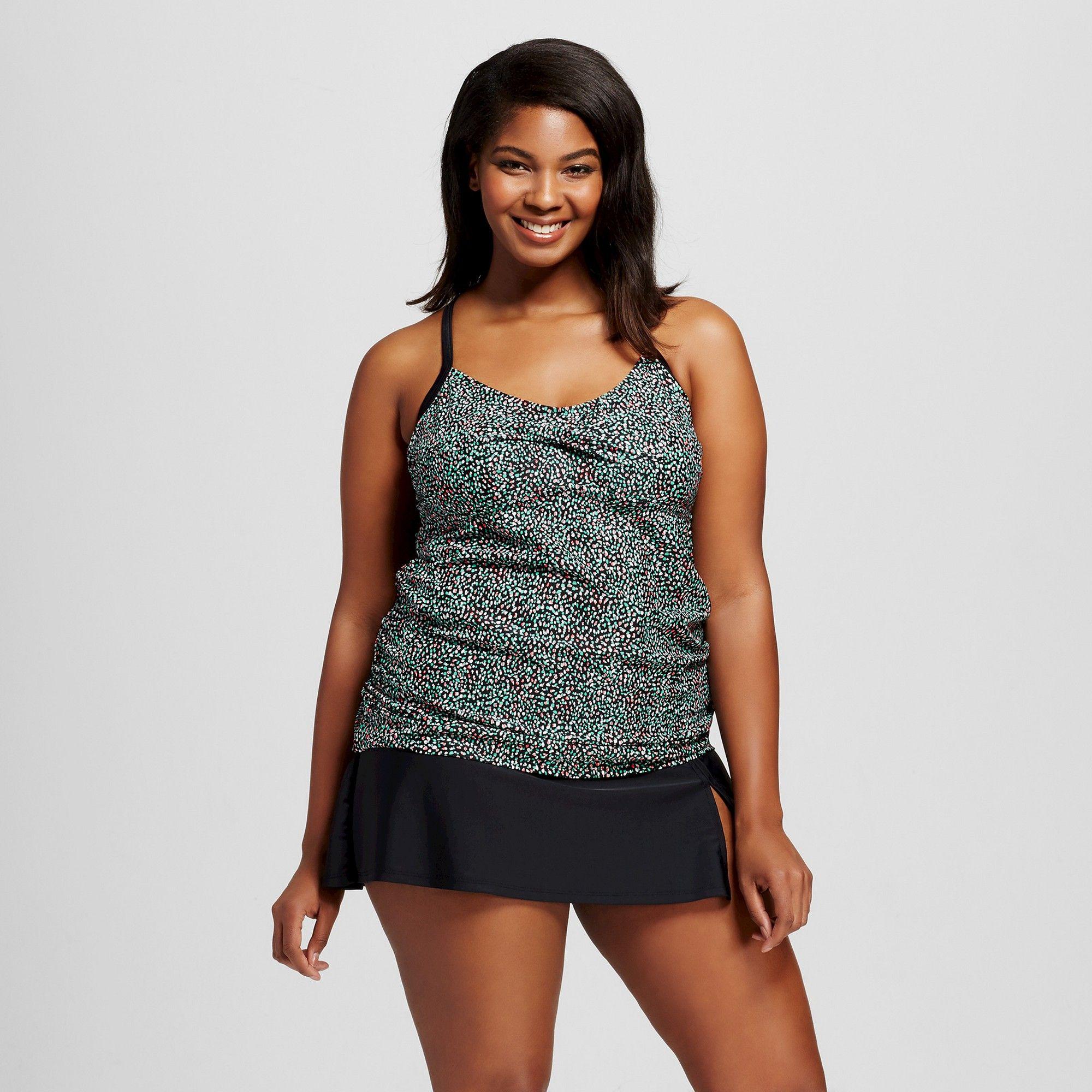 9c4082409431c Women s Plus Size Strappy Halter Tankini - Ava   Viv Scatter Dot 26W ...
