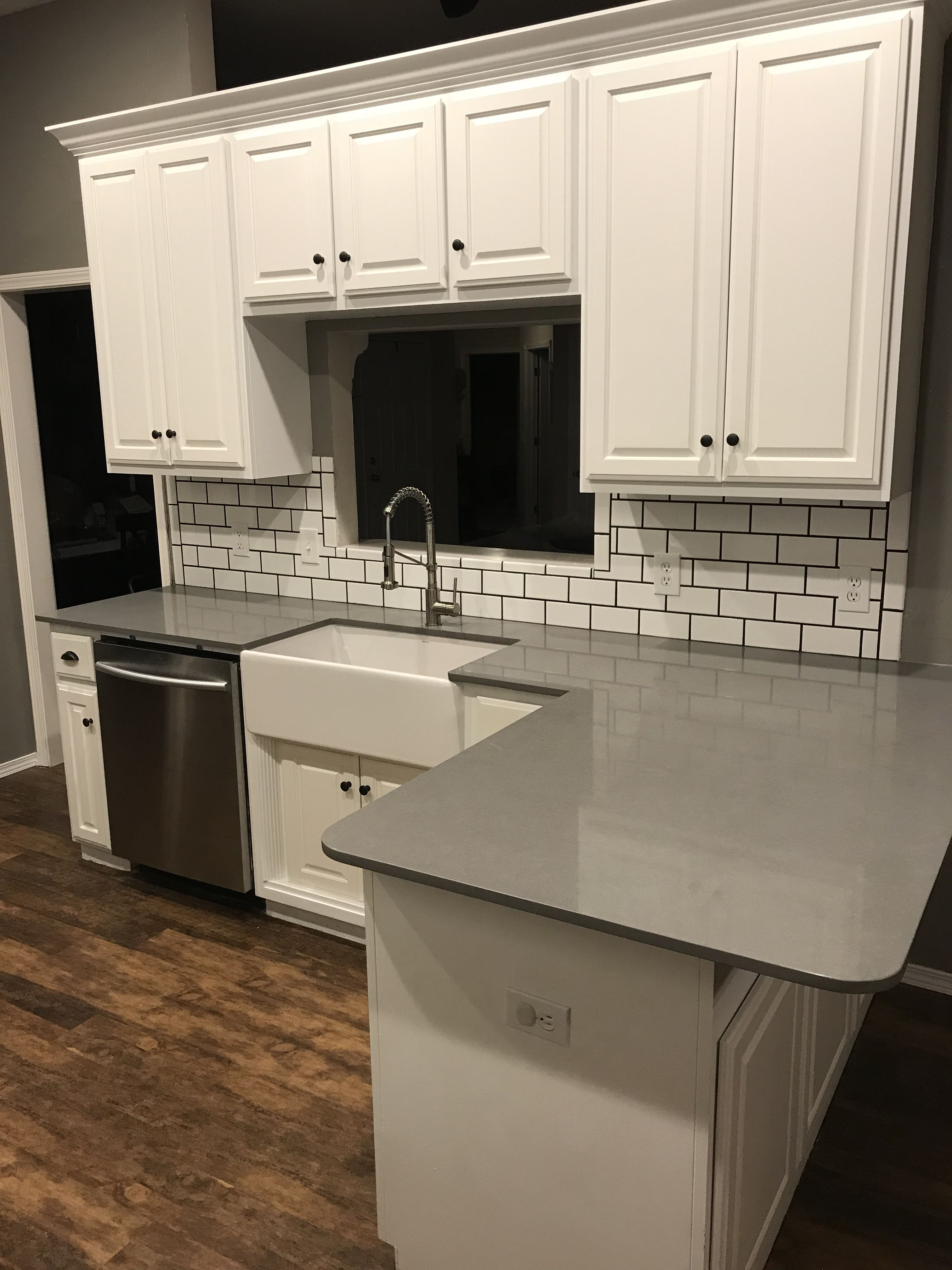 Slate Quartz Countertops, White 3X6 Subway Tile With 316 Spacers