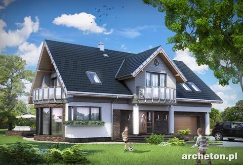 Projekt domu Lazuryt - piękny dom jednorodzinny z atrakcyjną jadalnią i kolumnami od strony wejścia beton komórkowy - Archeton.pl