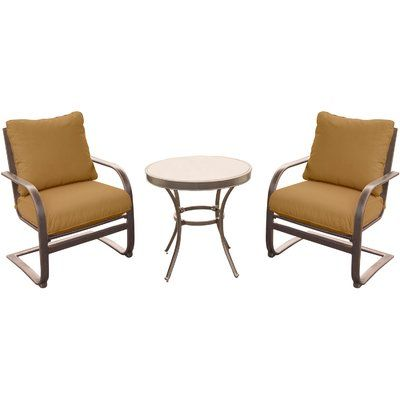Hanover Summer Nights 3 Piece Bistro Set With Cushions 3 Piece