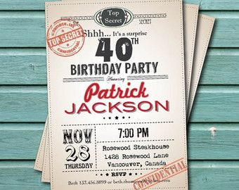 surprise 40th birthday party invitation man woman retro too