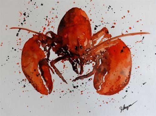 """Original Watercolor Still Life Maine Lobster Painting"" original fine art by James Lagasse"
