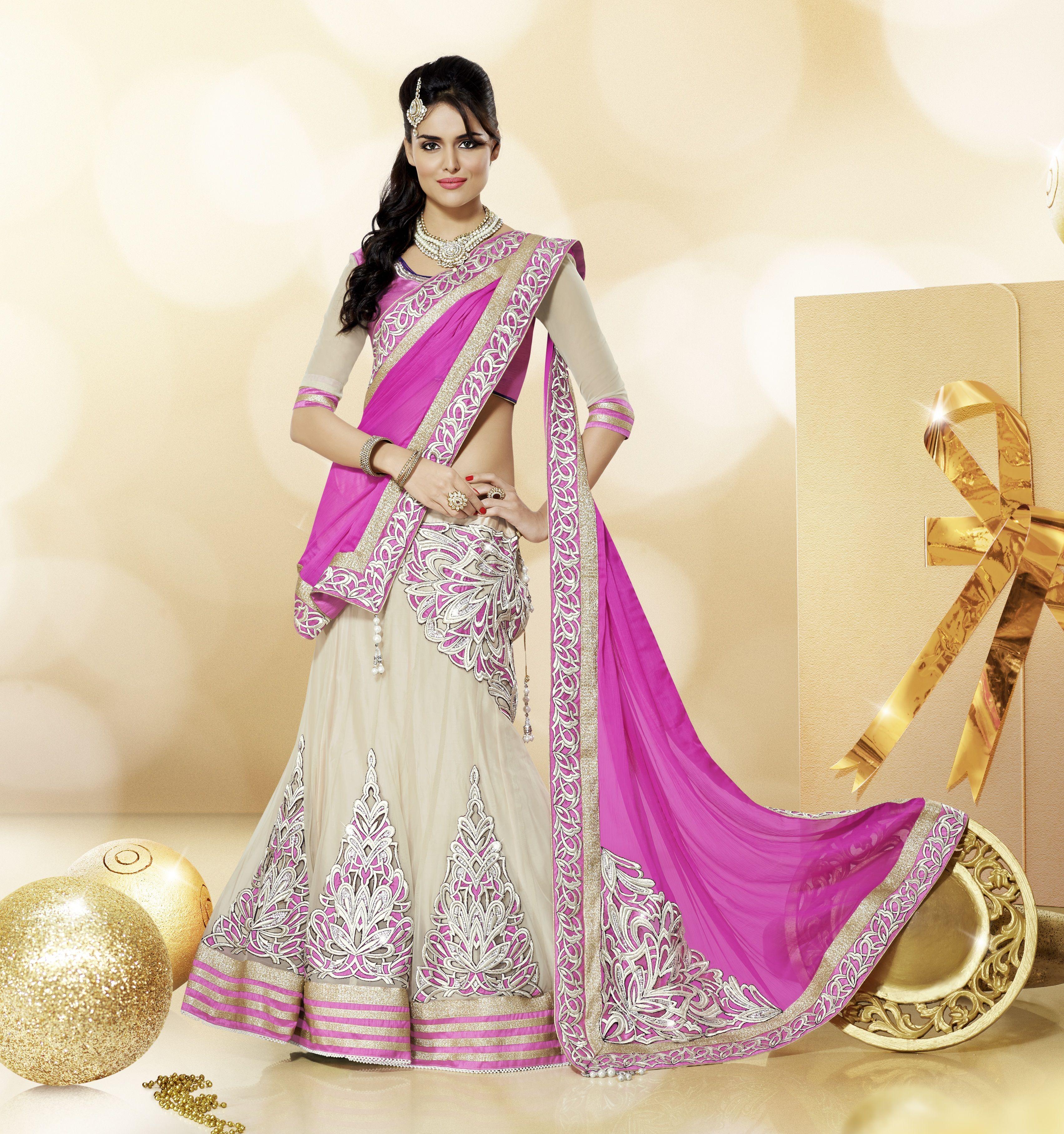 pink with cream shaded #designer #lehengasaree | Ethnic Wear ...