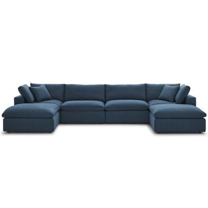 Commix Collection Eei 3362 Azu 6 Pc Sectional Sofa Set With Down