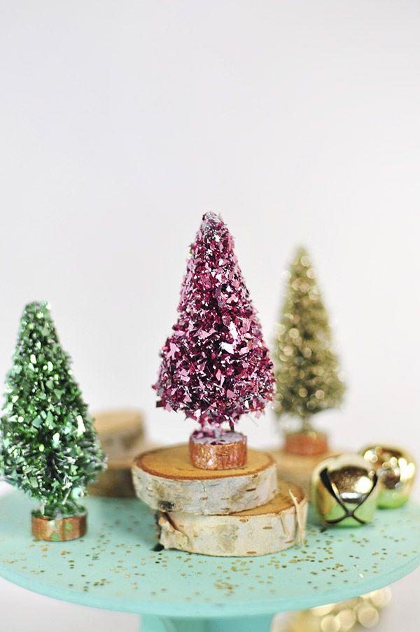 Glitter Bottle Brush Trees Diy Christmas DecorationsDiy