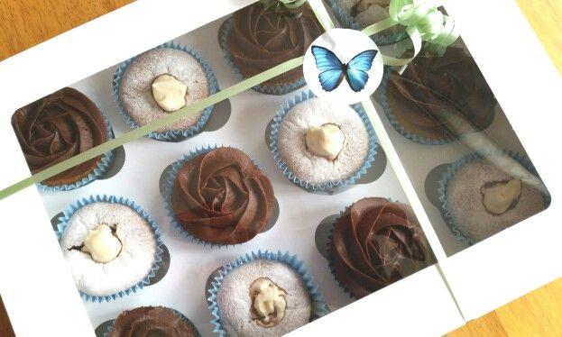 Mixed box of chocolates ganache cupcakes and chiffon cupcakes filled with custard cream
