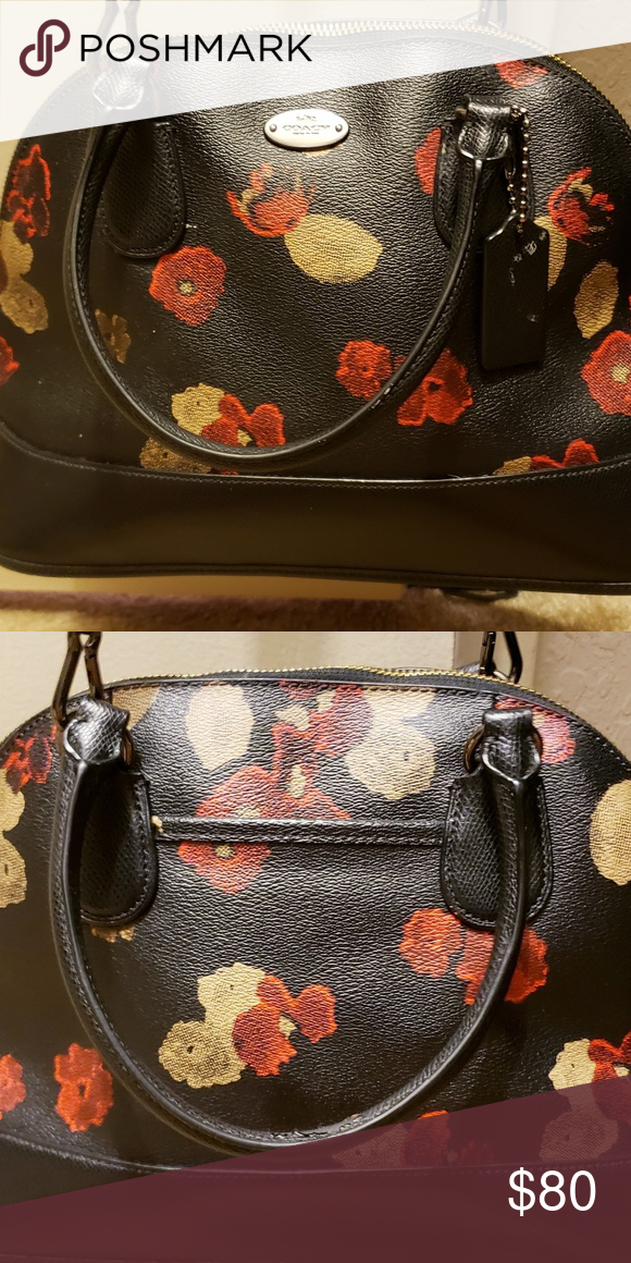 Coach Purse Black With Red Flowers Handles 4 Drop Long Strap 21