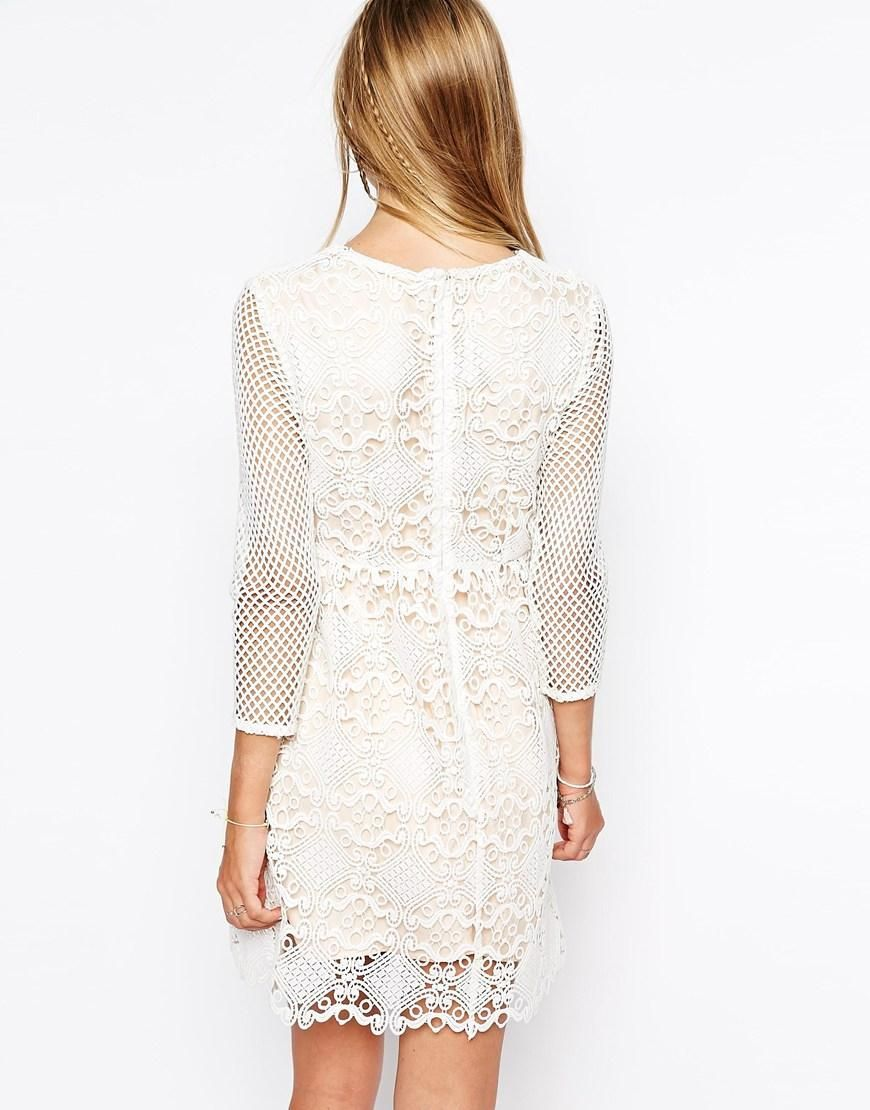 Little White Lies | Little White Lies Cutwork Lace Dress With Mesh Sleeves at ASOS