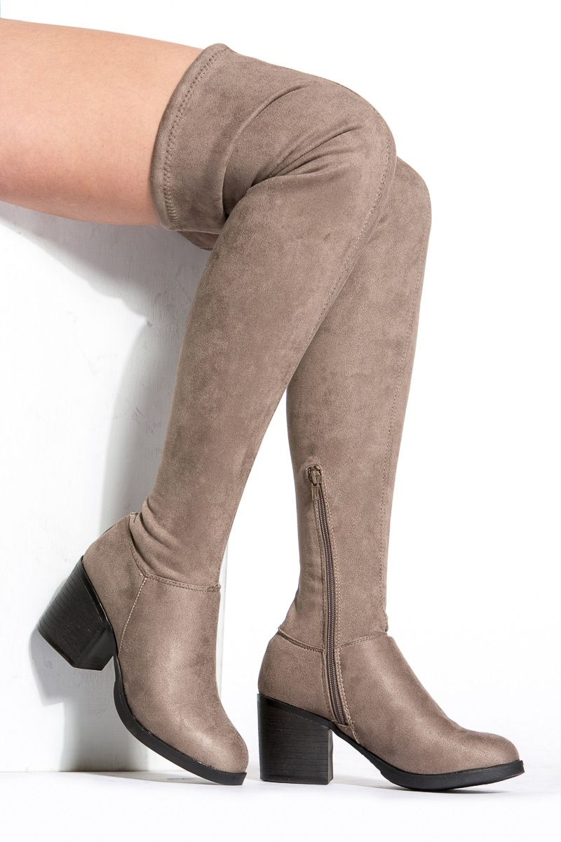 39da7e770889 Taupe Faux Suede Chunky Thigh High Boots @ Cicihot Boots Catalog:women's  winter boots,leather thigh high boots,black platform knee high boots,over  the knee ...