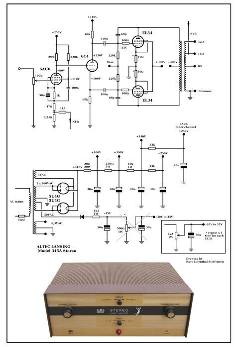 Altec Lansing 345A , Stereo EL34 PP, ed   อิเล็กทรอนิกส์