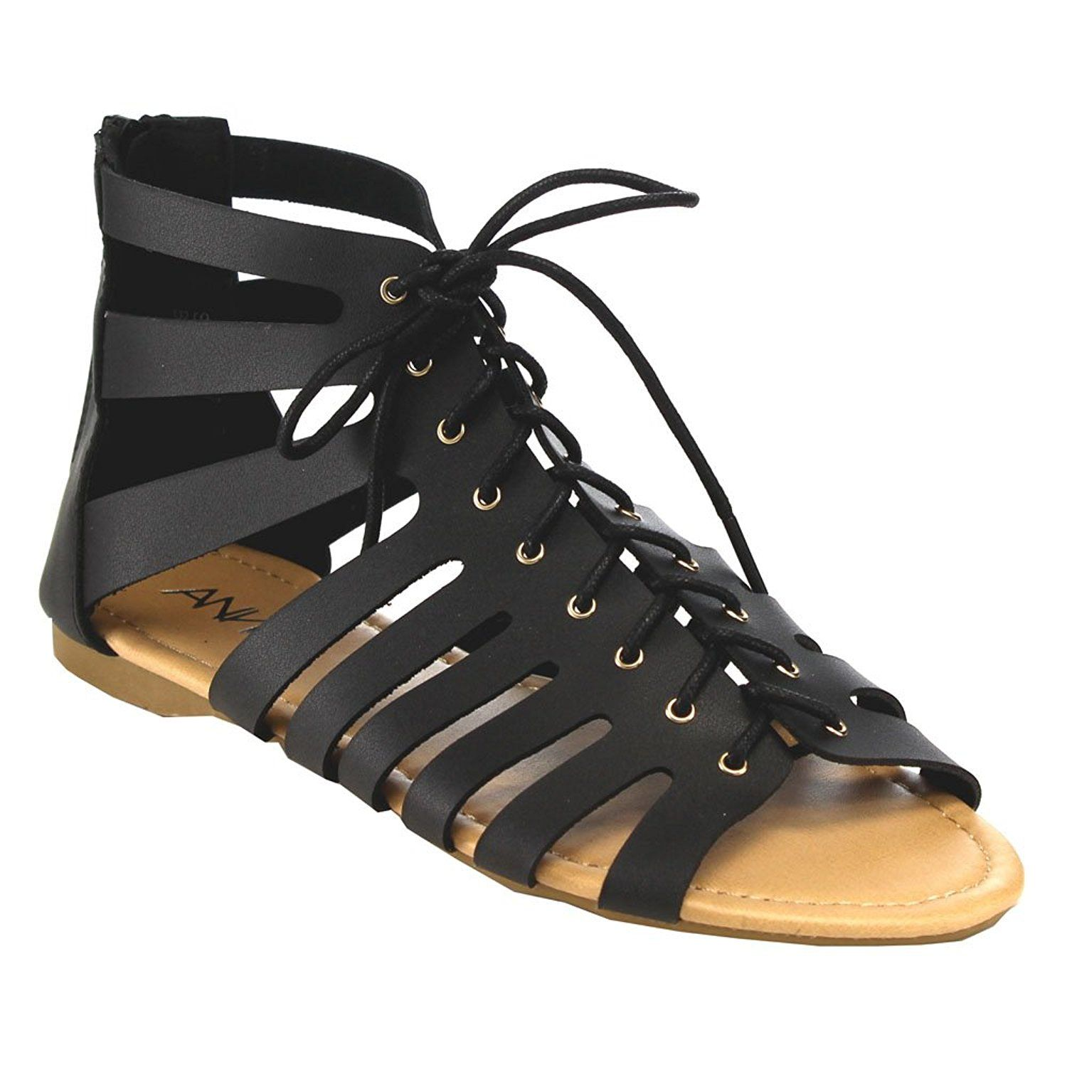 Anna Spencer 7 Women S Caged Lace Up Zipper Flat Gladiator Dress Sandals See This Great Image Lace Up Sandals Black Lace Up Flats Lace Up Gladiator Sandals [ 1500 x 1500 Pixel ]