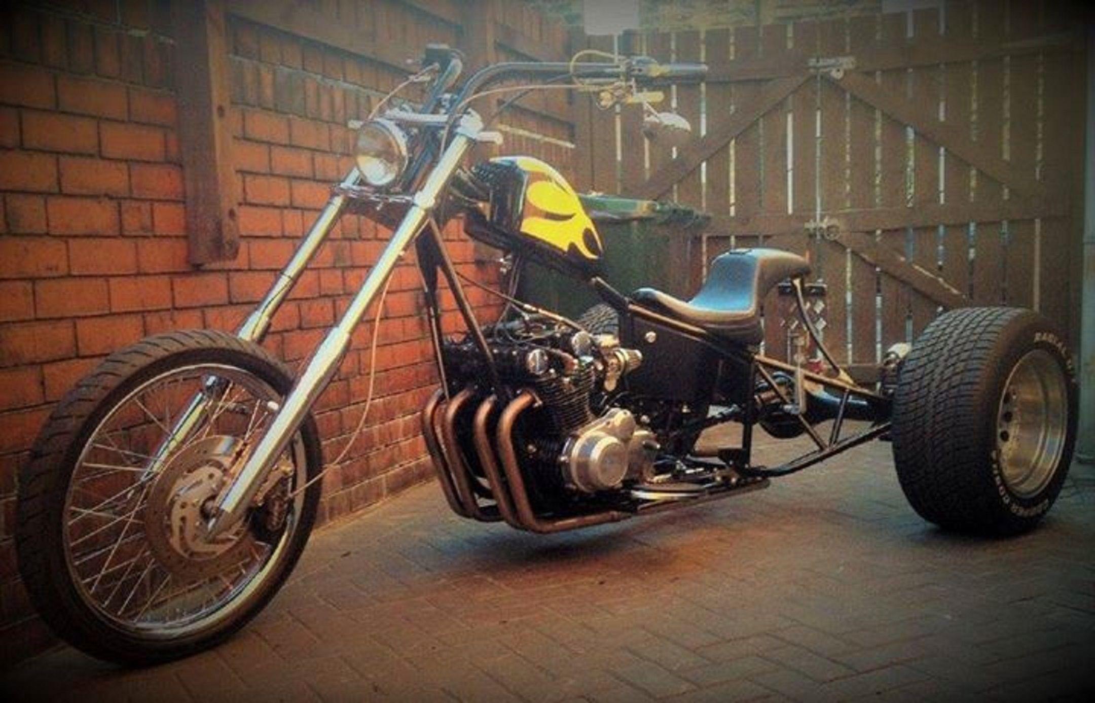 Suzuki gs850 hardtail trike recently being auctioned on ebay item location barnsley