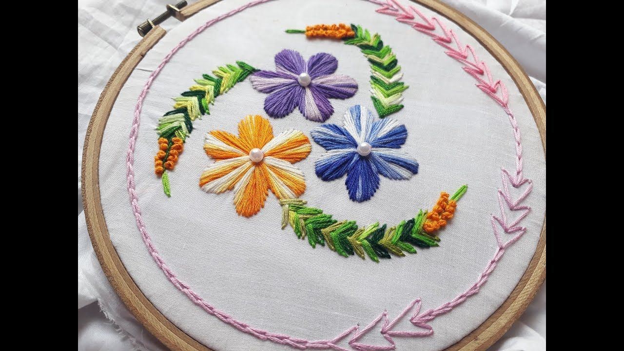 Beautiful hand embroidery design for cushion cover hand embroidery