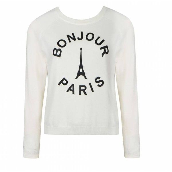 Ally Fashion Paris easy knit jumper (44.040 COP) ❤ liked on Polyvore featuring tops, sweaters, shirts, cream, cream shirt, white long sleeve sweater, long sleeve shirts, cream sweater and white tops
