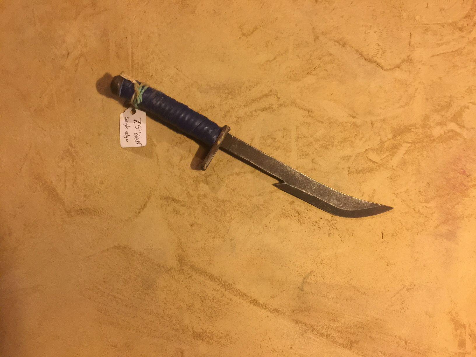 Blue handled high carbon single edge knife http://www.mylaforge.com/store/blue-handled-high-carbon-single-edge-knife-2