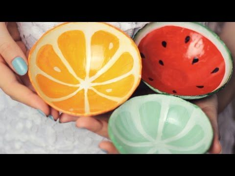 DIY Clay Fruit Bowls Tutorial - Watermelon, Orange, Lime