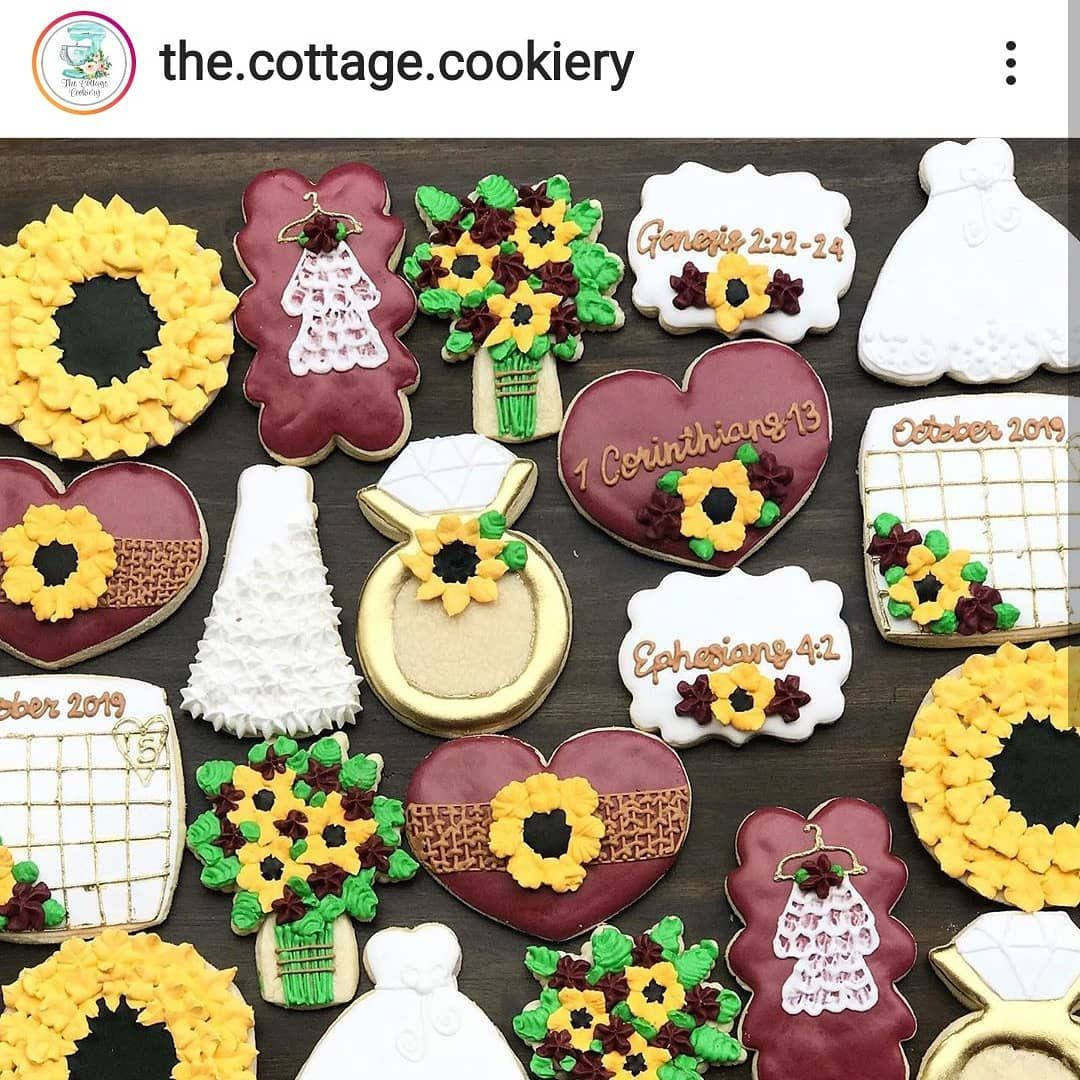 The Cottage Cookiery Made This Gorgeous Sunflower Theme Set Cutter From Our Etsy Shop Long Wedding Dress She Also Has Etsy Shop Etsy Long Wedding Dresses