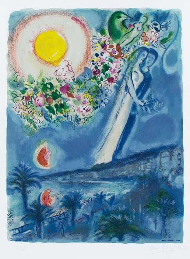 Marc Chagall - Fiancés dans le ciel de Nice