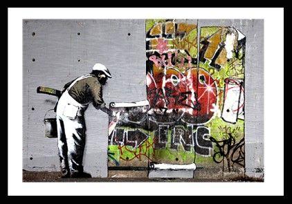 Banksy Wallpaper Hanging (In a Black Frame)