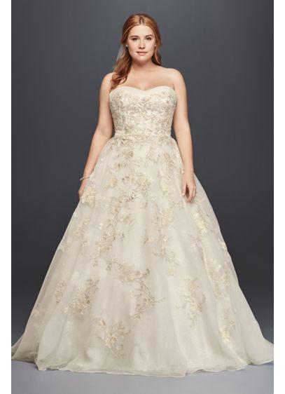 3686ae02adf9c Oleg Cassini Organza Wedding Dress with Beading 8CWG700