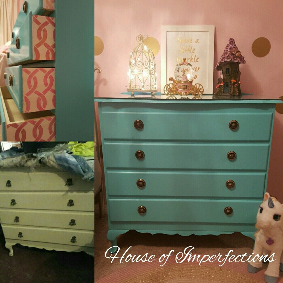 Aqua Verde- semi gloss paint. Websters chalk paint can be added so no need for prepping.