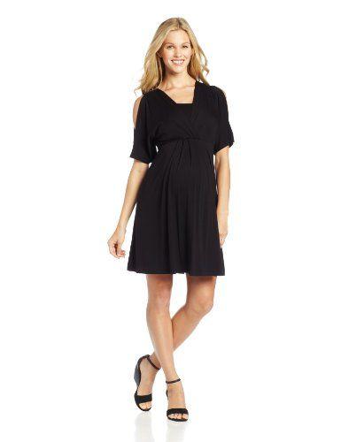 e7b9ce59fd3 Maternal America Womens Maternity Nursing Split Sleeve Dress Black Small      For more information