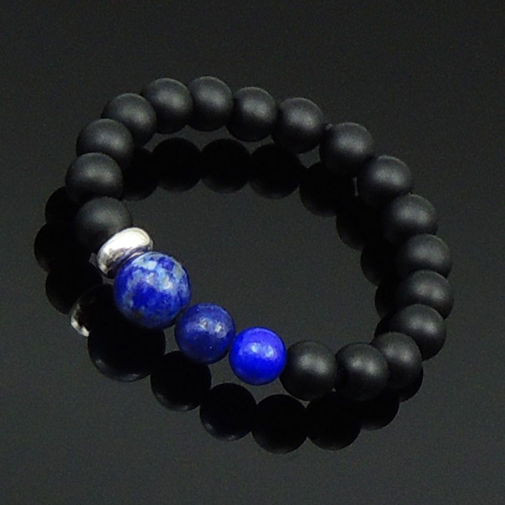 Men/Women Gemstone Ring Black Onyx Lapis Sterling Silver Beads Size 6 7 8 9 10 #DIYKAREN #MenWomenGemstoneS925SterlingSilverRing