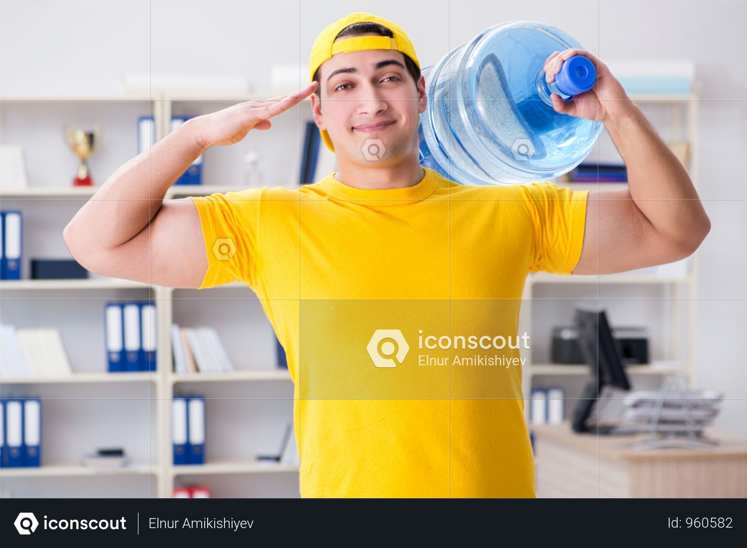Premium Man Delivering Water Bottle To The Office Photo Download In Png Jpg Format Delivery Photos Water Bottle The Office