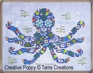 TAM'S CREATIONS    Isn't this octopus cute with it's big eyes and four pairs of arms!  This colorful design is part of the Patches series by Tam's Creations and like all other designs, it's a clever combination of tiny cross stitch motifs.  The octopus pattern includes tiny fish, flowers and other nautical-themed shapes. Each individual element is fun to stitch and comes in a different color from the DMC Color Variations range.