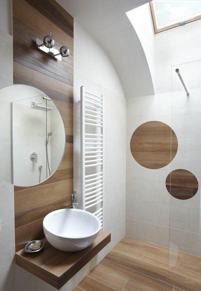 jolie salle de bain blanc marron, intérieur en bois clair | Salle de ...